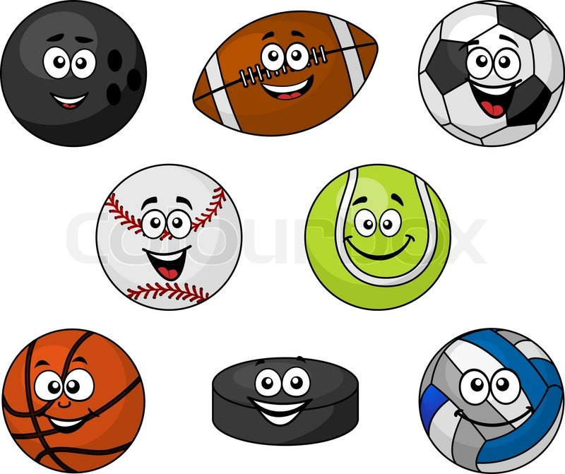 800x671 Set Of Cartoon Sports Equipment With A Bowling Ball, Rugby Or