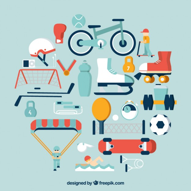 626x626 Sport Equipment Icons Vector Free Download