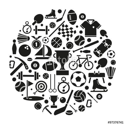 500x500 Sports Symbols Vector Illustration. Variety Of Sports Equipment