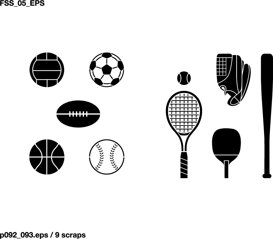 871x762 Various Elements Of Vector Silhouette Sports Equipment Equipment