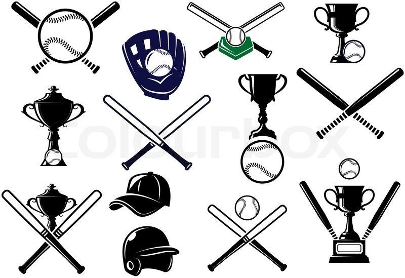 800x549 Baseball Sports Equipment Elements For Sport Emblems And Logo