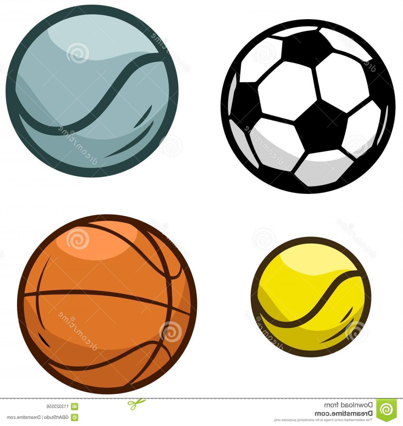 1560x1648 Cartoon Sports Ball Vector Icon Set Equipment Games Football