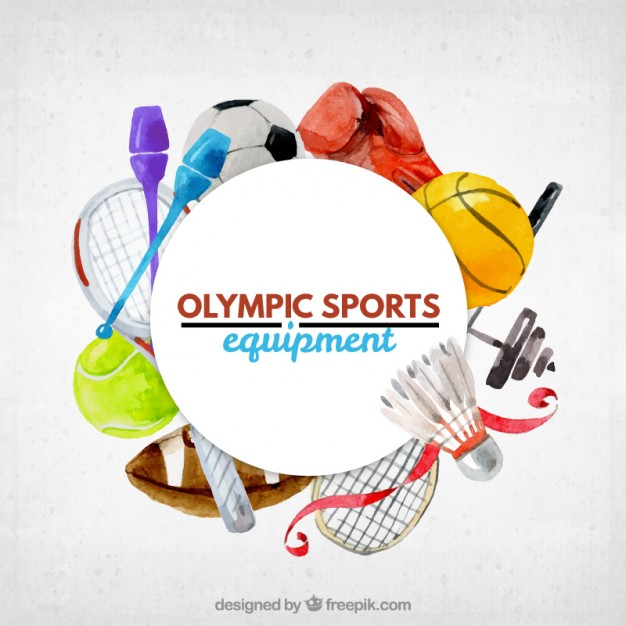 626x626 Cute Watercolor Olumpic Sports Equipment Background Vector Free