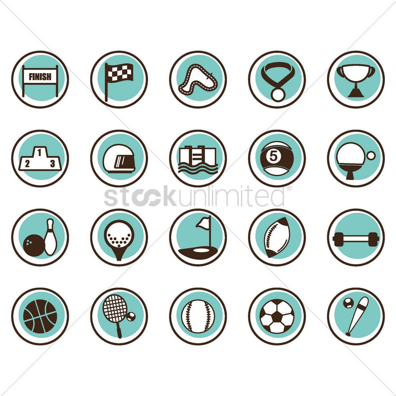1300x1300 Free Set Of Sports Icons Vector Image