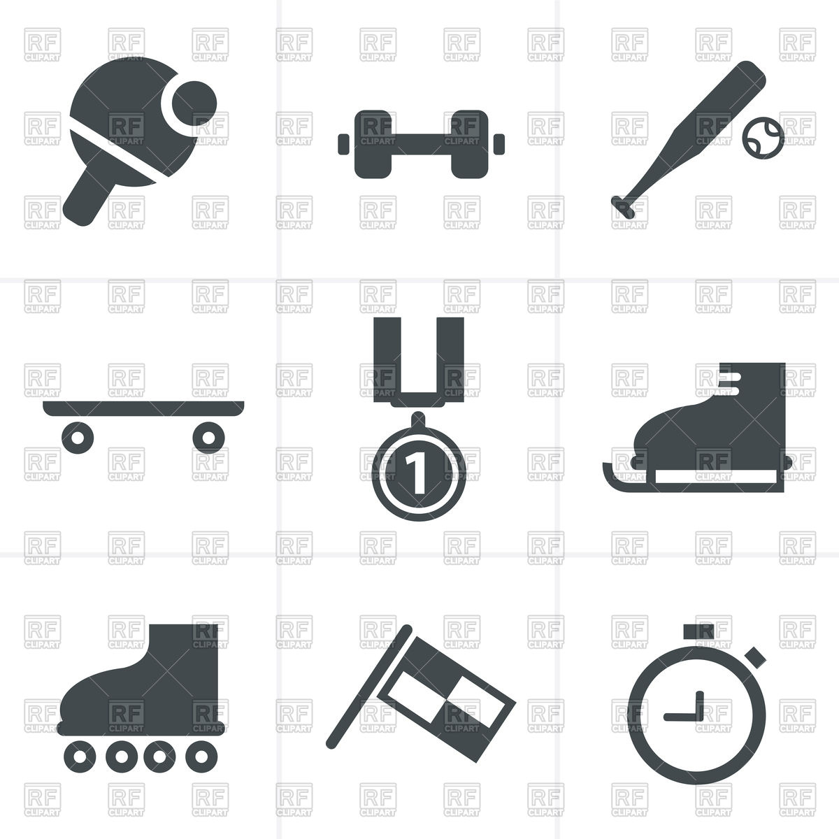 1200x1200 Set Of Monochromatic Simple Sports Icons Vector Image Vector