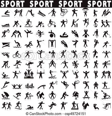 450x469 Sports Icons Set. Vector Shapes Athletes.
