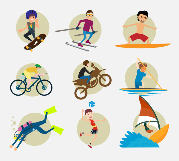 600x539 Sports Icons Vector Illustration With Various Colored Styles Free