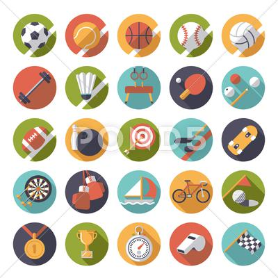400x400 Circular Sports Icons Flat Design Vector Set. Collection Of 25