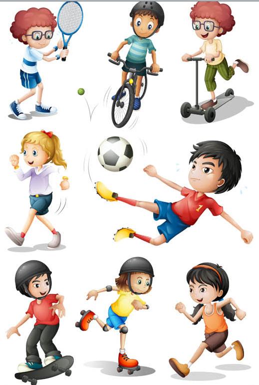 519x770 Children In Sport Vector Ai Format Free Vector Download