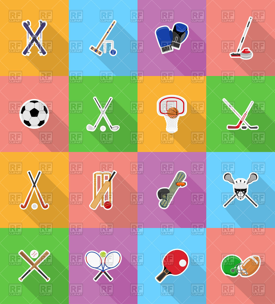 1086x1200 Set Of Sport Equipment Icons Football, Cricket, Hockey, Skiing