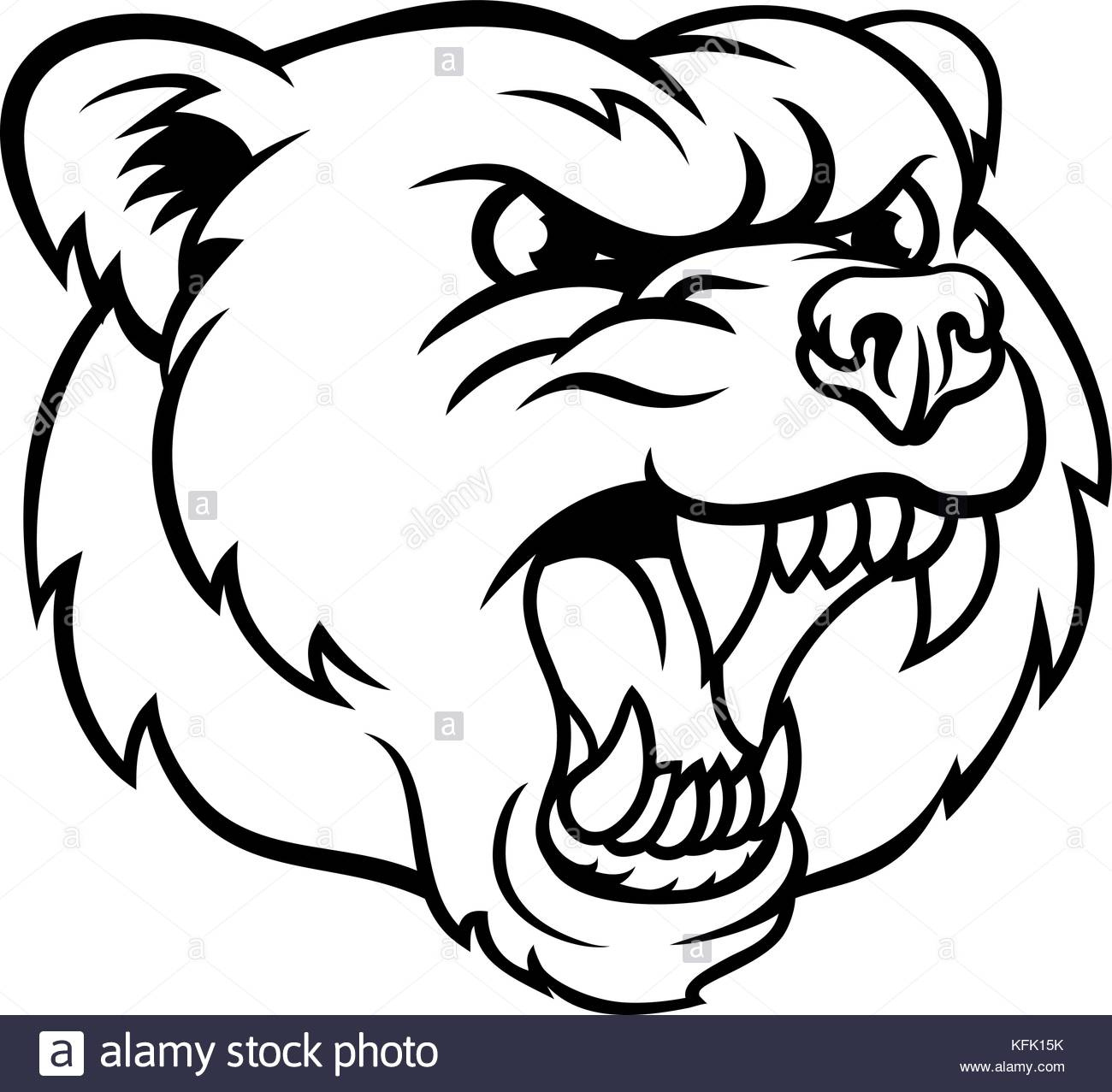 1300x1277 Angry Bear Face Drawing Angry Grizzly Bear Sports Mascot Face