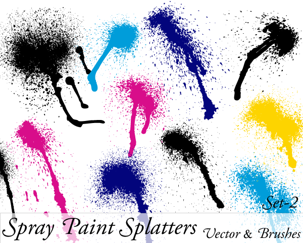 600x482 Spray Paint Splatter Vector Illustration Set 1 Paintball Splatter