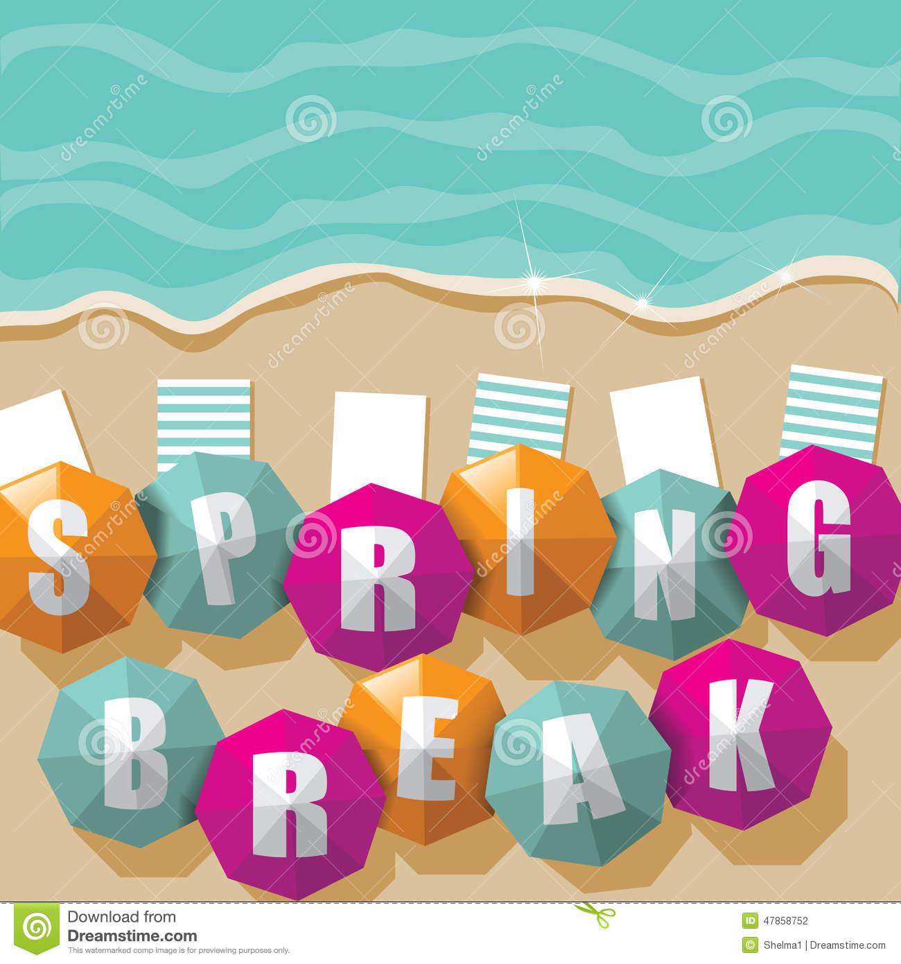 1300x1390 Spring Break Umbrellas Beach Eps Vector Illustration 47858752