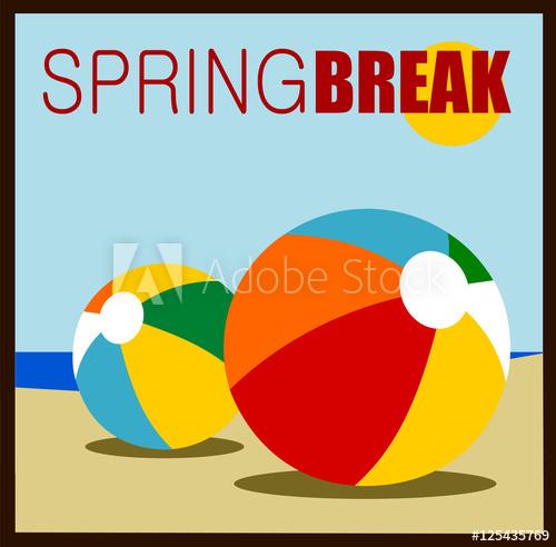 500x492 Spring Break Design With Beach Balls On Sand