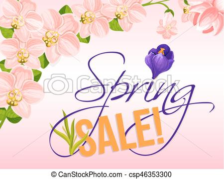 450x360 Sale Vector Poster For Spring Holiday Discount. Spring Sale Vector