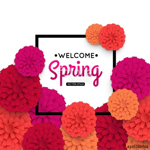 500x500 Spring Banner With Colorful Paper Flower And Black Frame. Spring