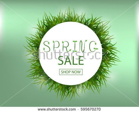 450x366 Spring Sale Background With Green Grass For Your Design. Vector