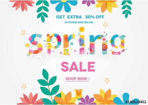 500x354 Spring Sale Banner, Sale Poster, Sale Flyer, Sale Vector. 30% Off