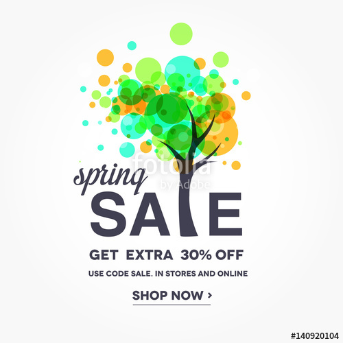 500x500 Spring Sale Banner With Flowering Tree,sale Poster, Sale Flyer