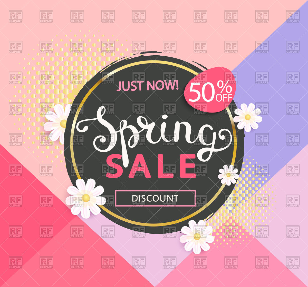 1200x1120 Circle Spring Sale Design With Daisies Vector Image Vector