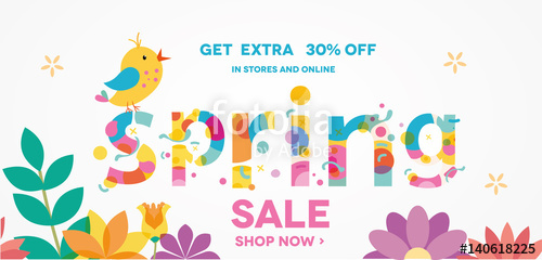 500x240 Spring Sale Banner With Bird, Sale Poster, Sale Flyer, Sale Vector