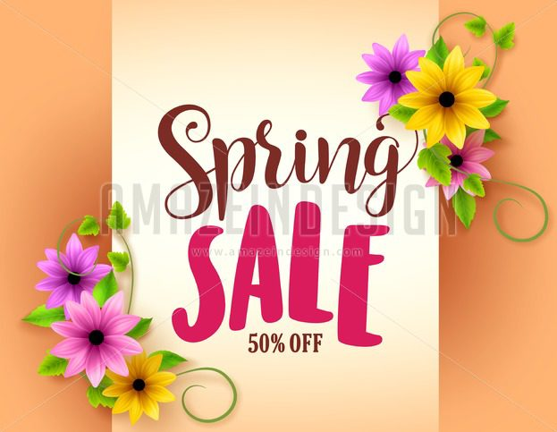 623x483 Spring Sale Vector Banner Design With Colorful Flowers