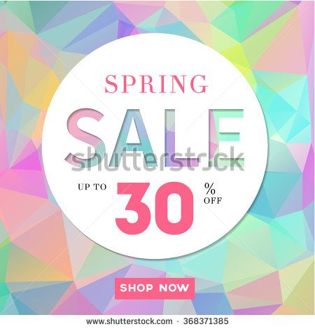 450x470 Spring Sale Stylish Banner On Polygonal Background. Up To 30% Off