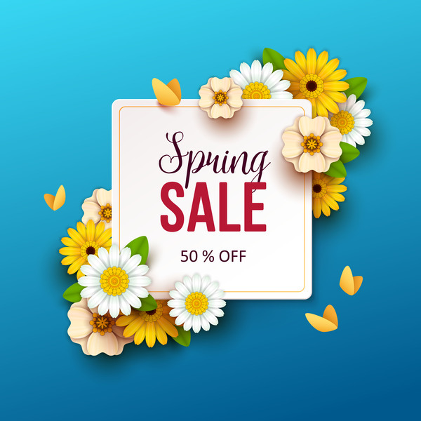 600x600 Spring Flowers With Blue Sale Background Vector 02 Free Download
