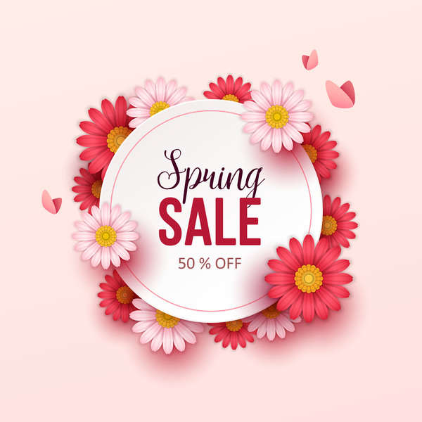600x600 Cute Flower Frame With Spring Sale Background Vector 01