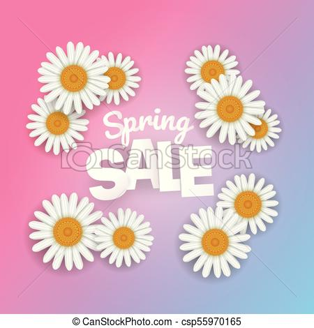 450x470 Spring Sale Offer. Season Sale Vector Banner With White Camomile