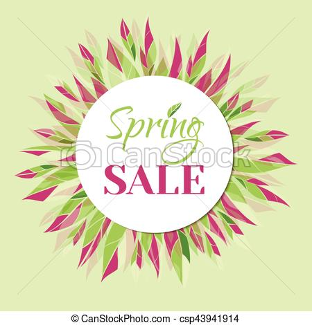 450x470 Spring Sale Vector Banner. Spring Sale. Vector Tag, Banner With