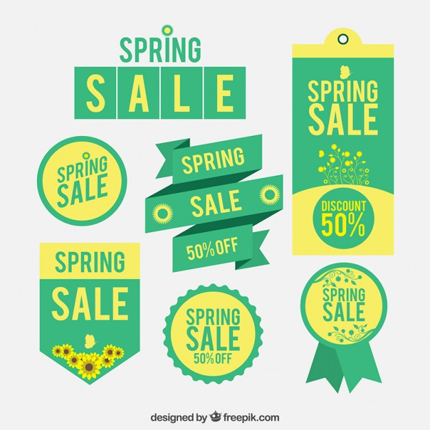 626x626 Green Spring Sale Label Collection Vector Free Download