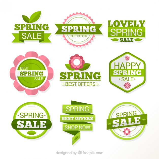 626x626 Green Spring Labels Of Sales Vector Free Download