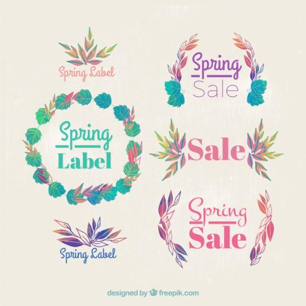 626x626 Nature Ornamental Labels Of Spring Sale Vector Premium Download