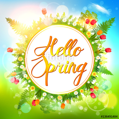 500x500 Spring Background. Hello Spring Vector Card. Stock Image And