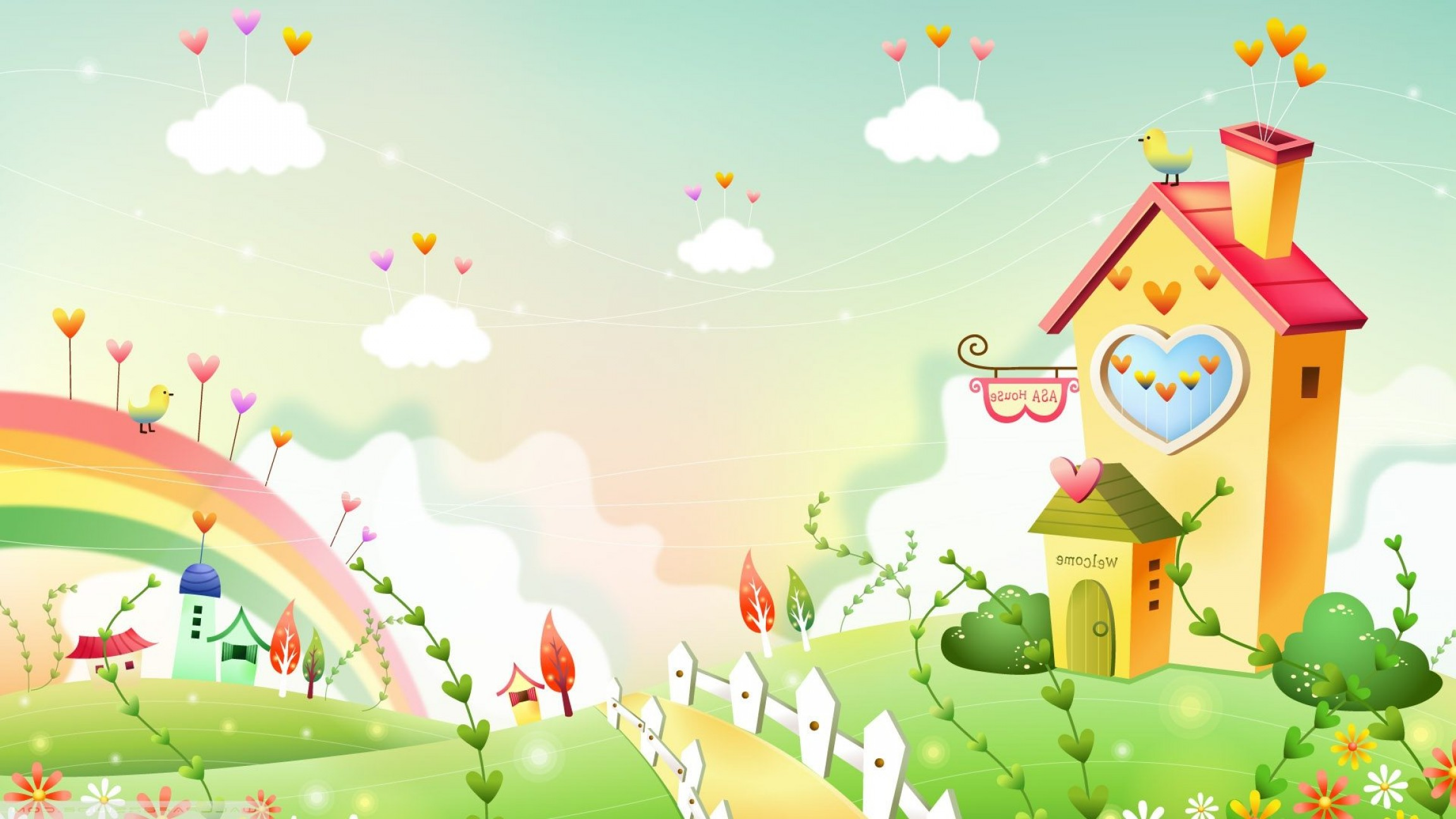 2304x1296 Download Vector Art Hd Image Spring Landscape With Rainbow