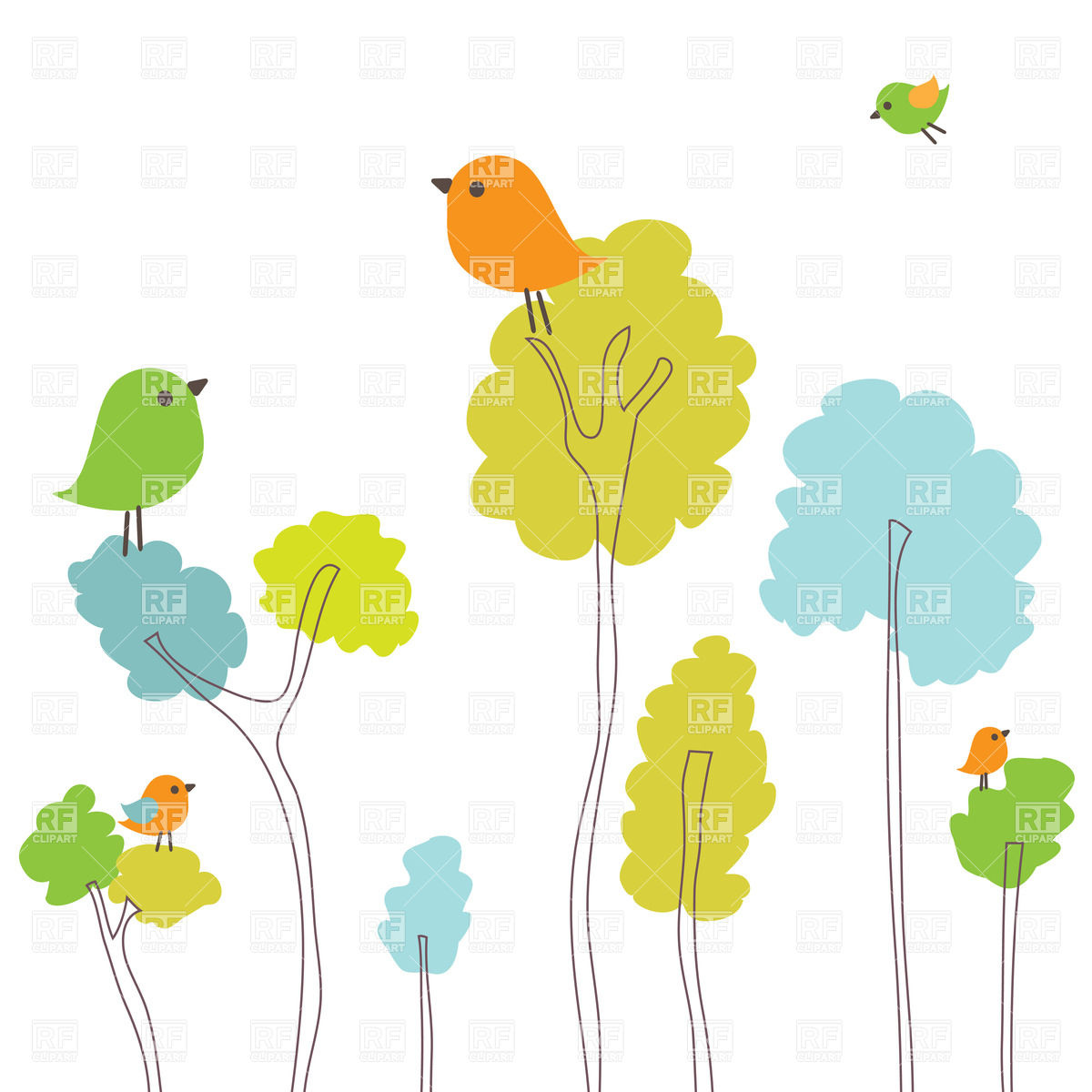 1200x1200 Simple Cartoon Spring Trees And Birds Vector Image Vector