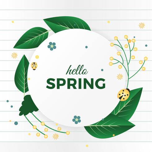 490x490 Beautiful Spring Vector Greeting Card