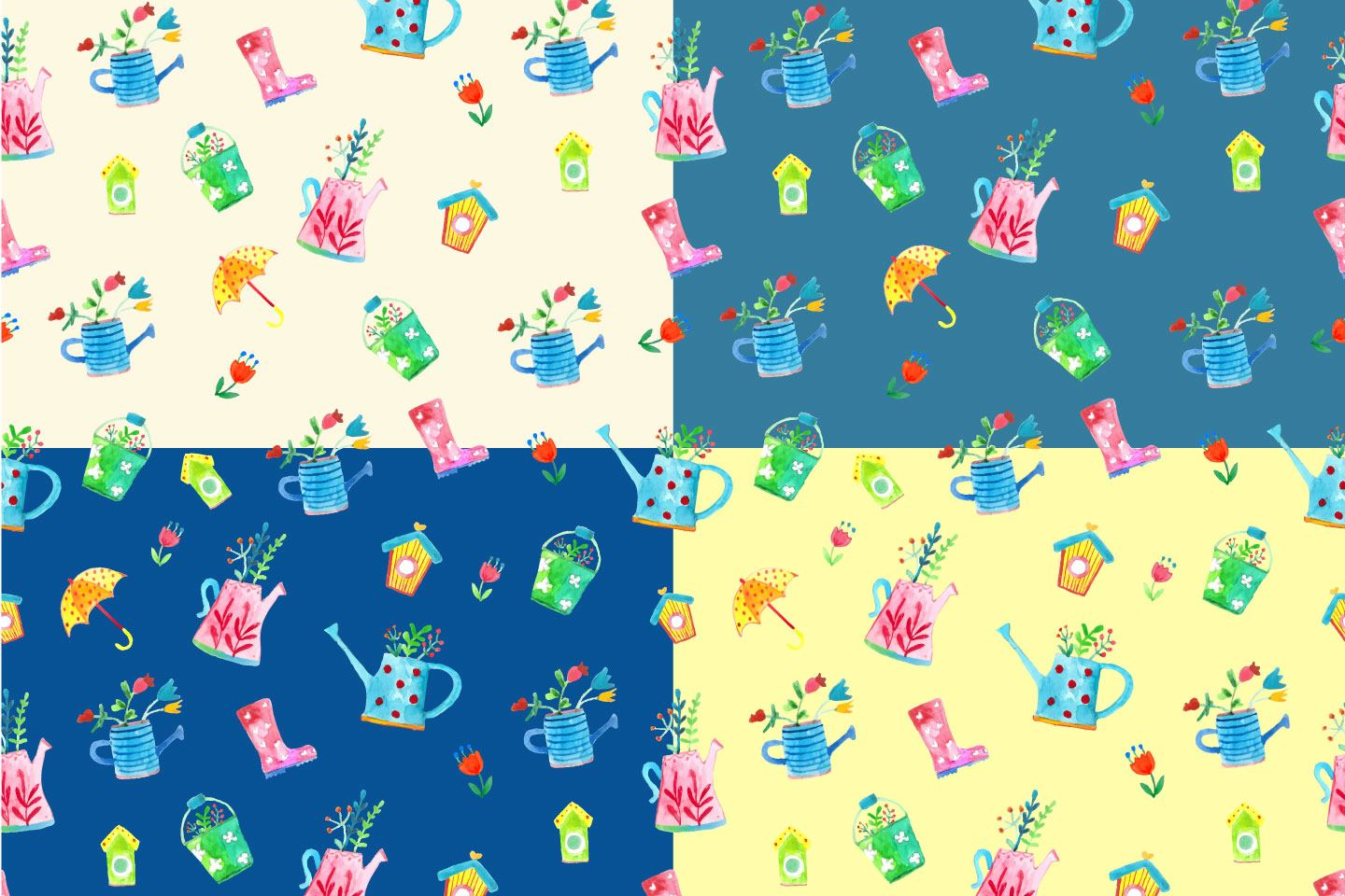 1440x960 Watercolor Spring Vector Free Seamless Pattern