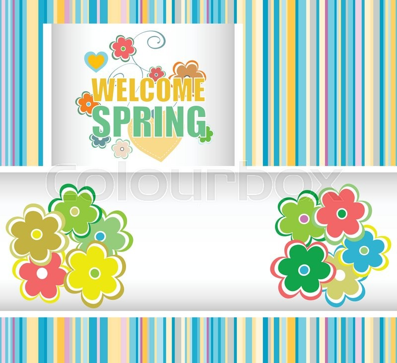 800x732 Welcome Spring Holiday Card. Welcome Spring Vector. Welcome Spring