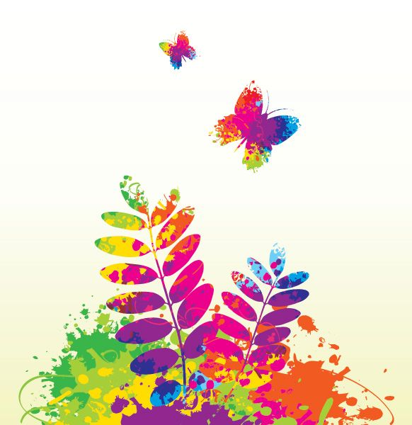 582x600 Colorful Spring, Vector Graphic By