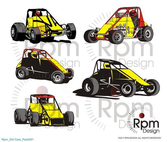 570x485 Racecar Svg File Sprint Car Svg Midget Dirt Track Racing Etsy