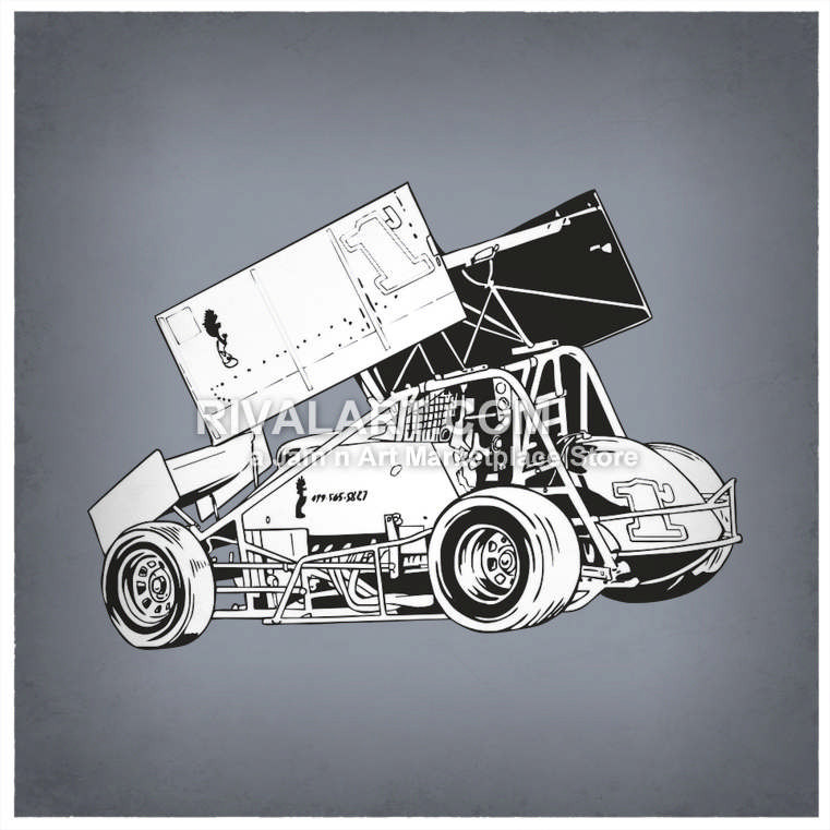 761x761 Black White Sprint Car Race Racing Graphic In Vector Format