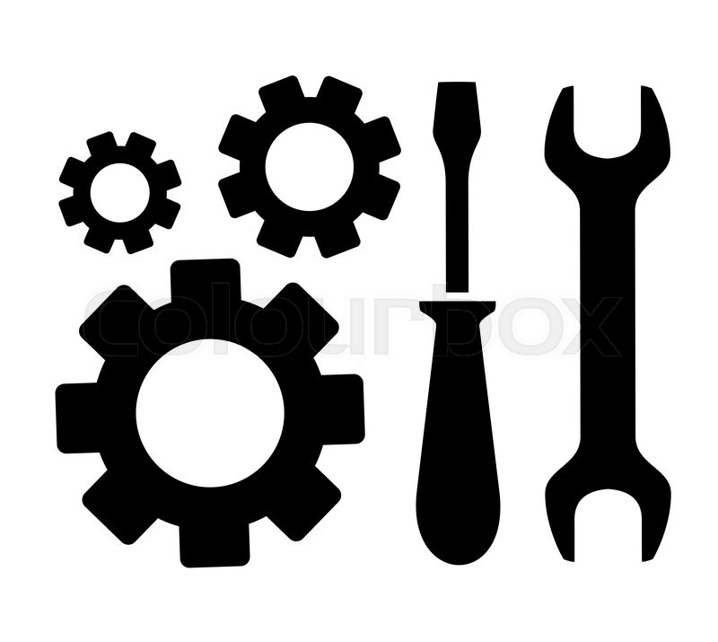 800x715 Concept Repair Symbol With Sprocket, Wrench And Screwdriver