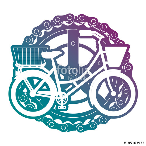 500x500 Antique Bicycle With Basket Chain And Sprocket Vector Illustration