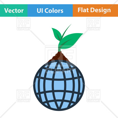 400x400 Planet With Sprout Vector Image Vector Artwork Of Signs, Symbols