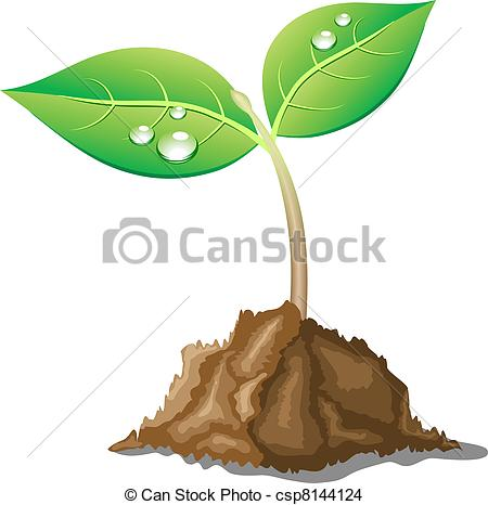 450x466 Beautiful Young Sprout. .young Sprout In Ground. Vector Illustration.