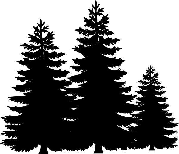 600x517 Black And White Pine Tree Clipart 6066 Pine Trees Clip Art Vector