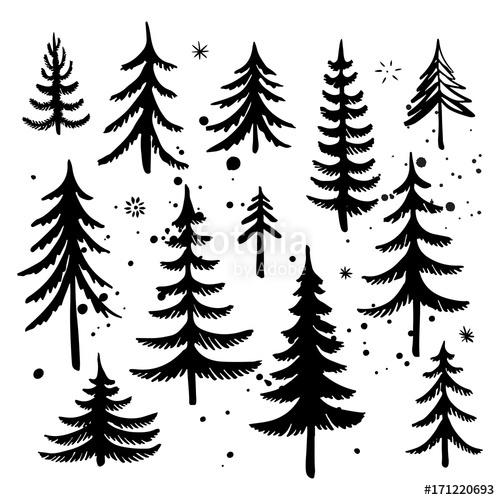 500x500 Set Of Hand Drawn Christmas Tree. Fir Tree Silhouettes. Vector