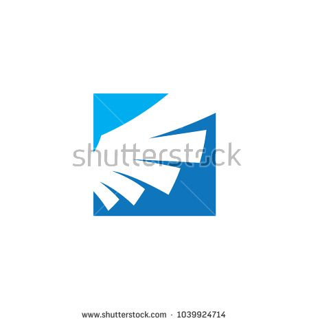 450x470 Wing Blue Square Logo Vector Design Template Concept For Business